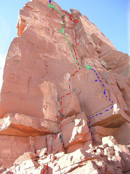 Red: Kor-Ingalls<br> <br> Blue: New 5.9, two bolts<br> <br> Green:  Black Sun 5.10 <br> <br> Blue Arrow:  Burning Inside finish