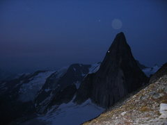 Rock Climbing Photo: Snowpatch Spire and the moon from the shoulder of ...