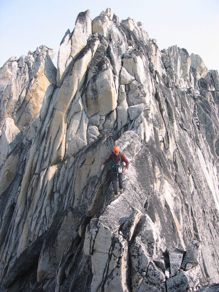 Rock Climbing Photo: the final traverse from the North Summit to the So...