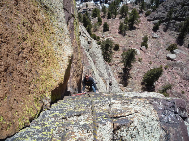 Rock Climbing Photo: On the first pitch.