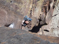 Rock Climbing Photo: Starting the crux dihedral.