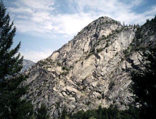 South Face of Grizzly Peak as viewed from the John Muir Trail.