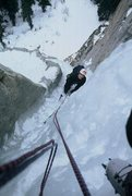 Rock Climbing Photo: From half way up the steep gully (2nd pitch) on Am...