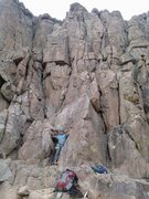 Rock Climbing Photo: Marc with left arm on the 5.7 slab start, and his ...