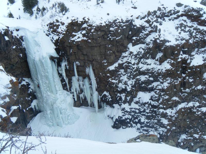 March 13th, 2010, 1 day ascent of Mrs. Mesa. 14 miles, 4000 ft. up, 4000 ft. down, 13 hours. Coal Creek Basin Trail to Coal Creek Trail, to Swithcback Trail, to Rim, 1 mile to Mrs. Mesa. Matt Cova climbing, Jason Adams belaying.