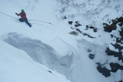 Rock Climbing Photo: Matt Cova making cuts out of the Mrs. Mesa cornice...