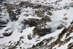 Rock Climbing Photo: Snow covered Columbine Falls (right) and the much ...