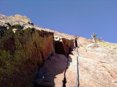Rock Climbing Photo: looking up the line last picth of the green speer