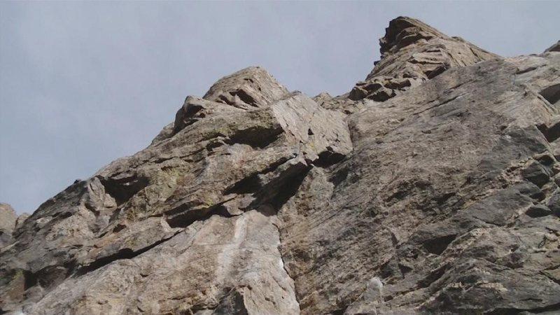 Rock Climbing Photo: looking up at the highlander craig