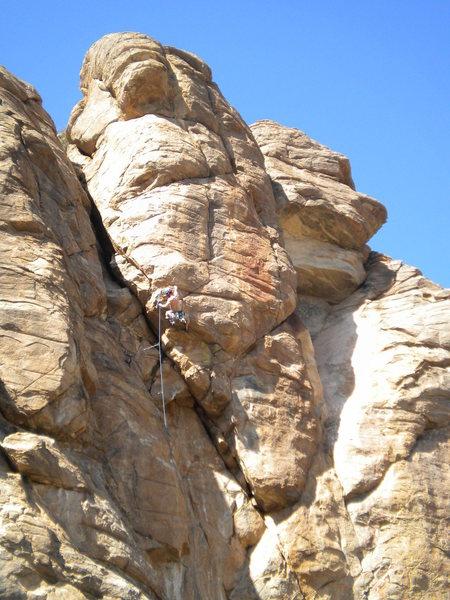 Rock Climbing Photo: David Merin beginning the traverse across the hori...