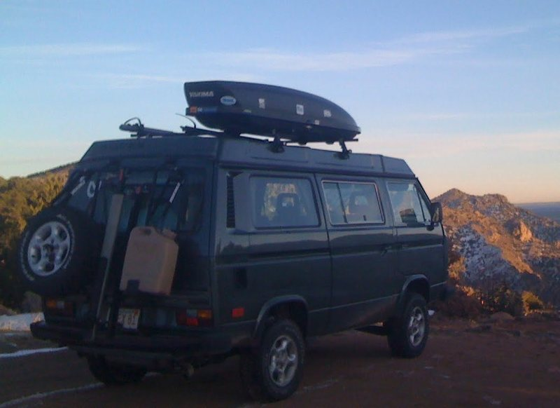 '86 Syncro Westy, on a recent trip to Shelf Road.  It's hard to imagine a better climbing vehicle.<br>