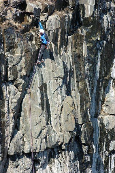 Rock Climbing Photo: Adam on Deer Bait. Difficult top-out.