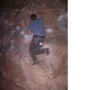 Rock Climbing Photo: pulling the crux moves on the monkey traverse