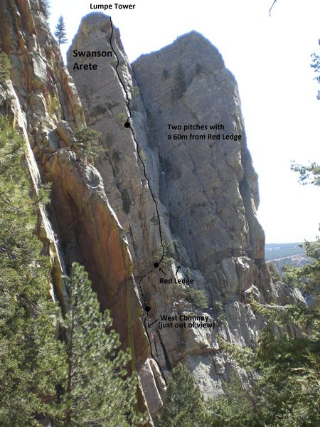 Rock Climbing Photo: An option to climb from Red Ledge in two pitches w...