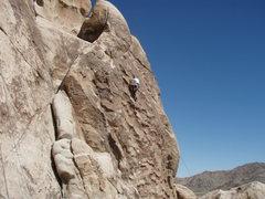 Rock Climbing Photo: Susan working up Silent Scream