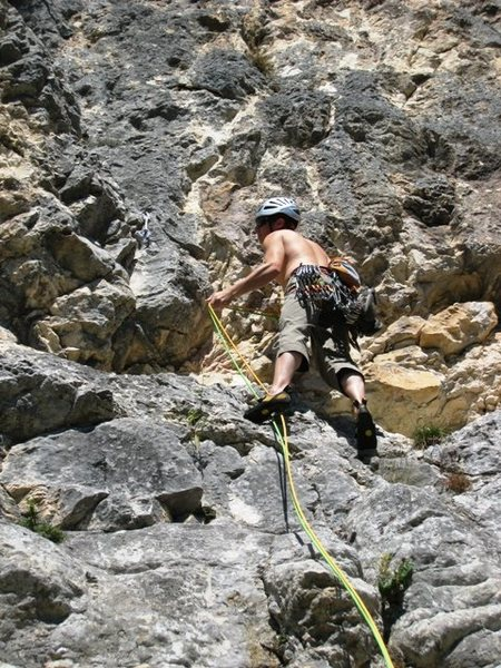 Rock Climbing Photo: Start of Les Buis.  Jon at first bolt.