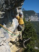 "Rock Climbing Photo: Les Buis pitch 4 traverse.  Jon tosses in a ""..."