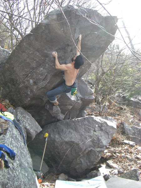Rock Climbing Photo: Getting into the upper side-pull. Photo: Vince