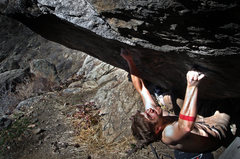 Rock Climbing Photo: Jason Baker standing up to the explosive power of ...