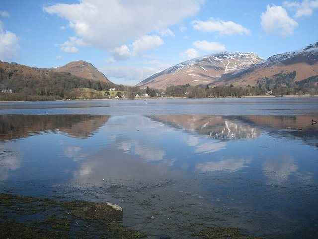 Grasmere Lake .With the pass of Dunmail Raise in the distance.