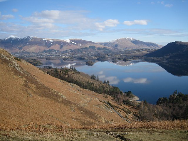 Derwent Water with Skiddaw and Blencathra mountains in the background