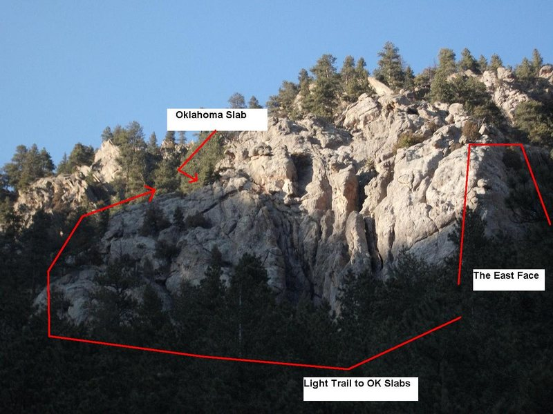 Looking up at Daryle's Rock from US Hwy. 34.