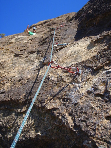 Rock Climbing Photo: Crux of whole route shown here near top of pitch 2...
