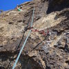 Crux of whole route shown here near top of pitch 2...thin edges and awkward feet, fun!