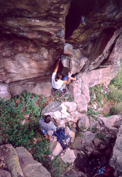 Joseffa gets on lead on Tombstone (5.11a).<br> Yeah, that's a trad route.