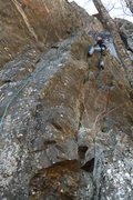 Rock Climbing Photo: jakob up near the hard to see bolt out right...