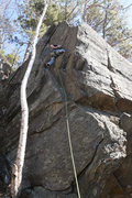 Rock Climbing Photo: Jakob about to clip the 3rd bolt... look at that r...