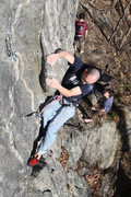 Rock Climbing Photo: Jakob on the big rounded flake at the start of the...