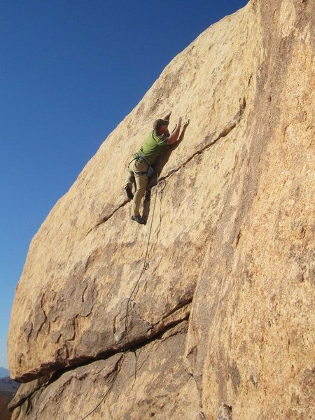 Bob Gaines leading Out of Order on the first ascent. Photo by Bruce Boe.