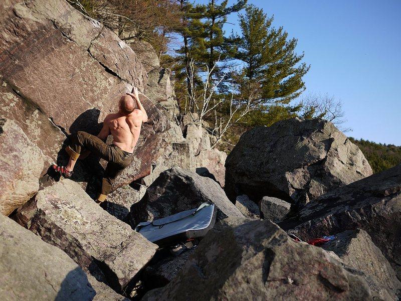 Rock Climbing Photo: Sending Winter Blues at sunset.  Good problem.  Ma...