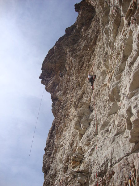 Rock Climbing Photo: In the foreground, a climber is on Hamster Forever...