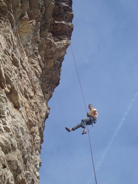 Rock Climbing Photo: Here I am on the way down.  The entire rappel is i...