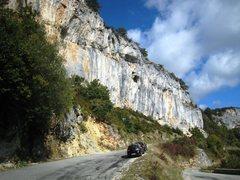 Rock Climbing Photo: Tina Dalle above the D292 road at Rochers de Nugue...
