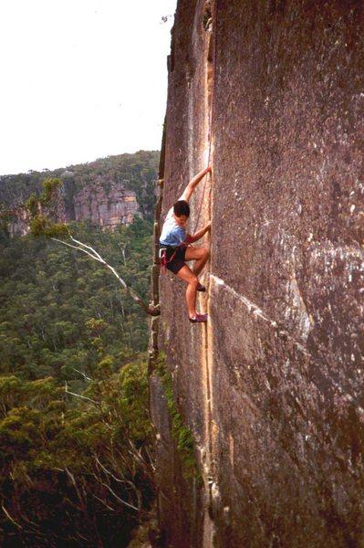 Rock Climbing Photo: Tony B on the Eternity... forever ago. (Jan 1997).