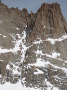 South Face of Arrowhead.  Deborah is the couloir going up the middle, partially hidden behind the main buttress.