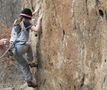 Rock Climbing Photo: Chloe working the traverse.