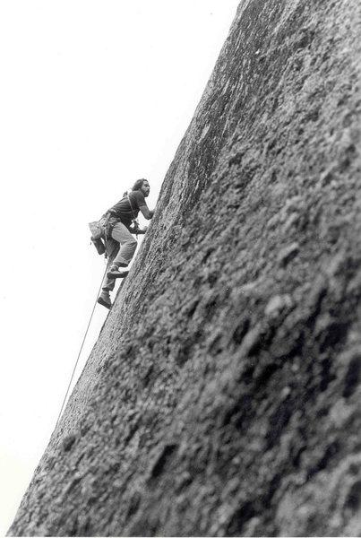 Gravitron, FA, James Crump, 5.11 R, 1981, Enchanted Rock, Texas,  James Crump Collection.