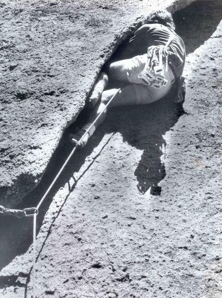 Innominate, FA, Daniel McClure, 5.10, 1978, photo Goomba John Sanders, Enchanted Rock, Texas, James Crump Collection.