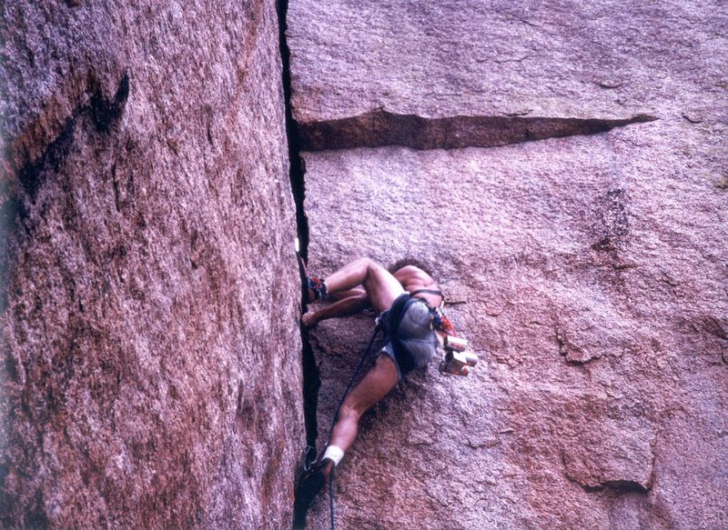 Fear if Flying, FA James Crump, 5.10 R, 1977, Enchanted Rock, Texas, Photo Jeff Gilkey, James Crump Collection.
