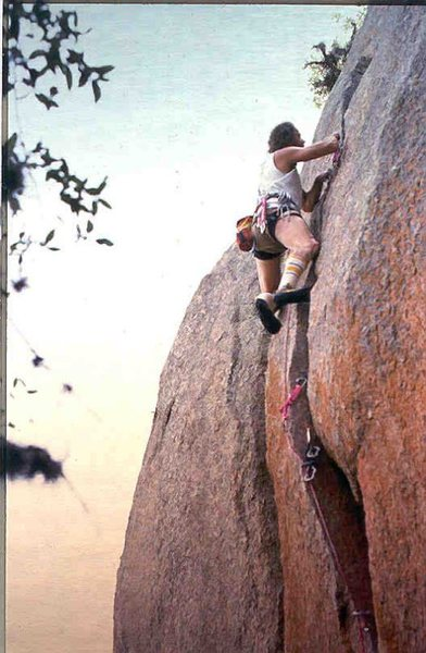 Shrike, FA James Crump, 5.12 R, 1988, Enchanted Rock, Texas, Photo Robert Price, James Crump Collection.
