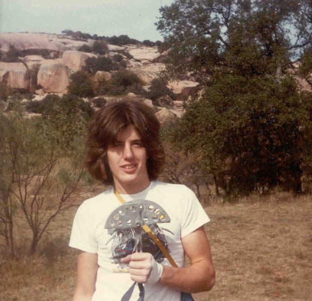 Goomba John Sanders and his big friend, 1979, Enchanted Rock, Texas, James Crump Collection