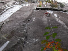 Rock Climbing Photo: Pitch 1.  P-2 makes it way into the upper righthan...