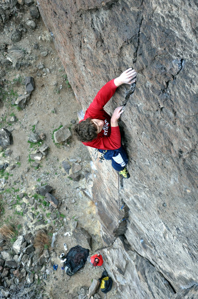When the finger crack ends it's on to the tiny crimps to pull over the bulge when you're the most pumped. March 2010.