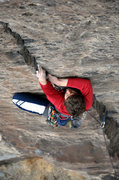 Rock Climbing Photo: Solid finger locks are the norm on the route. Marc...