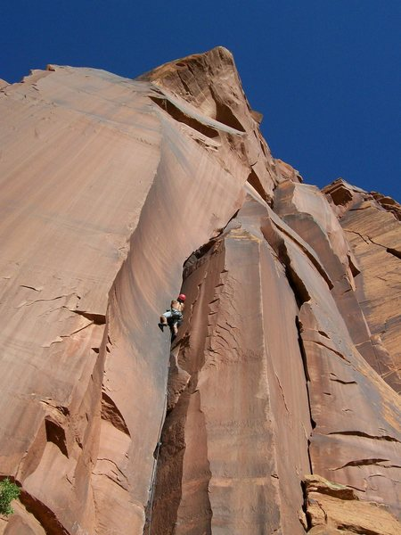 Photo taken from Tube Steaks Tomorrow (taken by armando fimbrez).  Unknown 10- climbs the left-facing flake and corner system around the blunt arete from the climber on Tubesteaks.