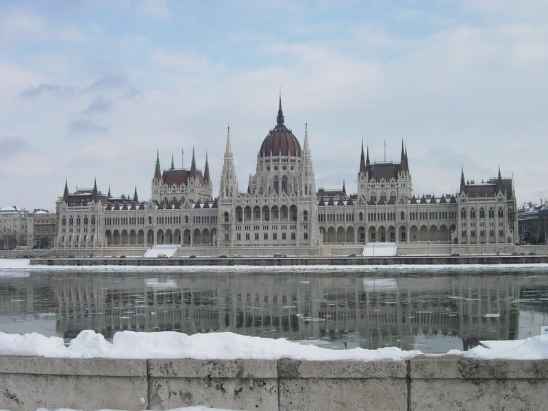 The parliament building in Budapest on a snowy winter's day.